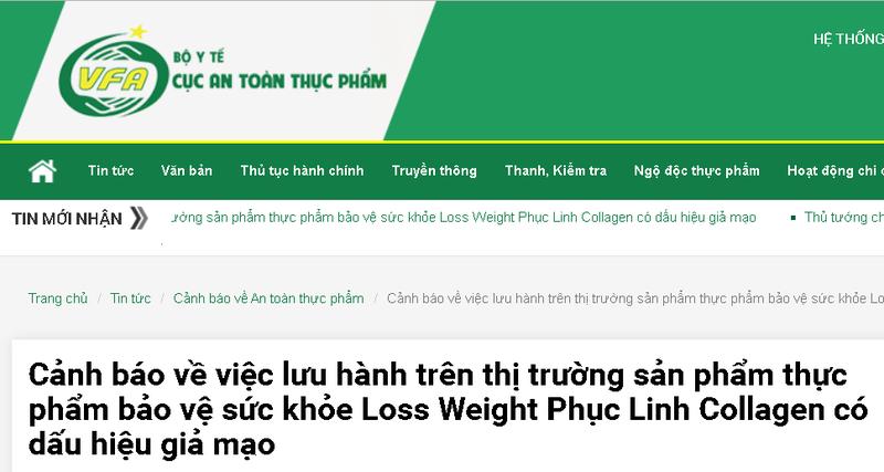 Canh bao: TPBVSK Loss Weight Phuc Linh Collagen co dau hieu gia mao