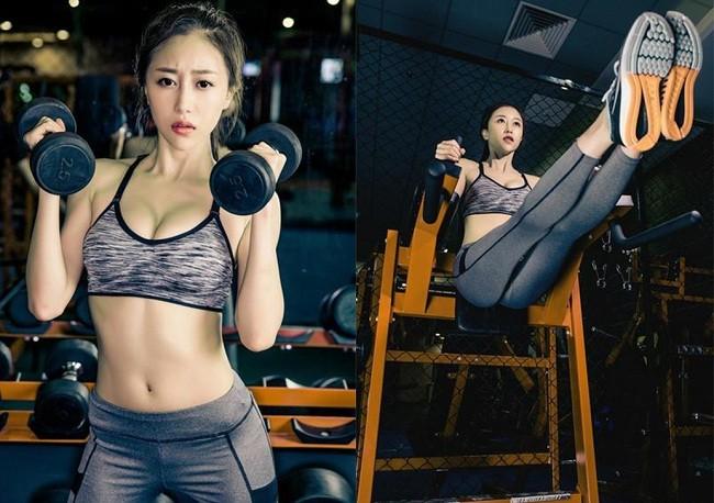 """Nu hoang phong gym"" xu Trung khoe voc dang nong bong o phong tap-Hinh-3"