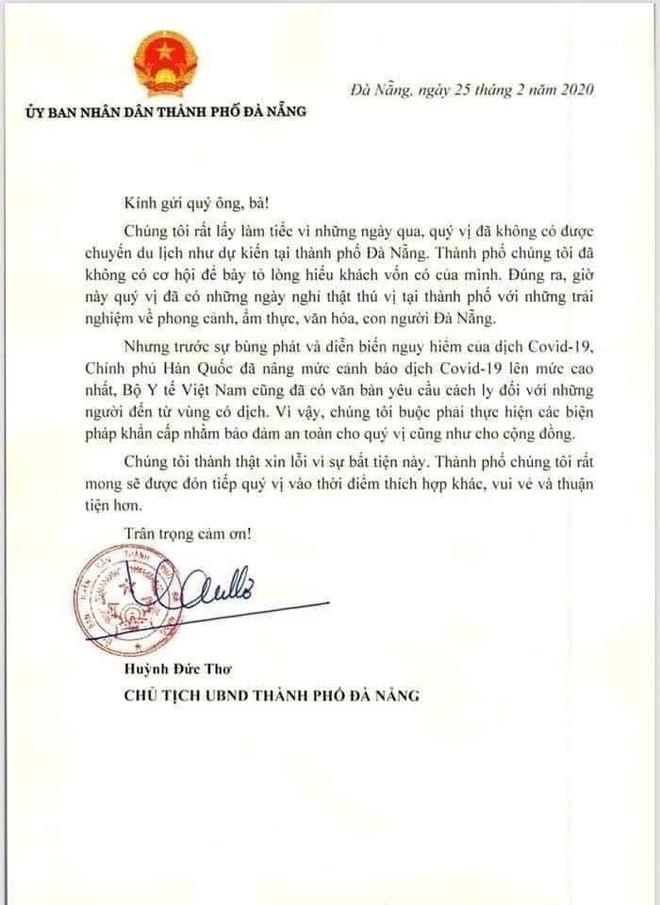 Chu tich TP Da Nang gui thu mong don du khach Han Quoc vao thoi diem khac