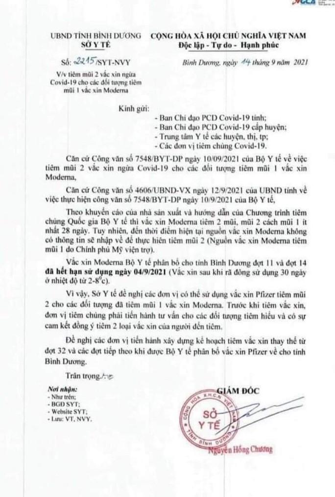 So Y te Binh Duong ly giai van ban gay hieu nham de vac xin het han