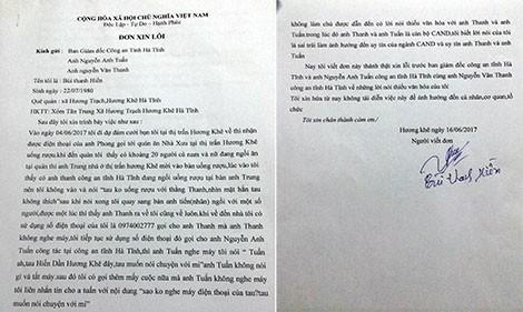 Doi tuong xuc pham Pho Thu truong CQANDT CA Ha Tinh xin loi-Hinh-2