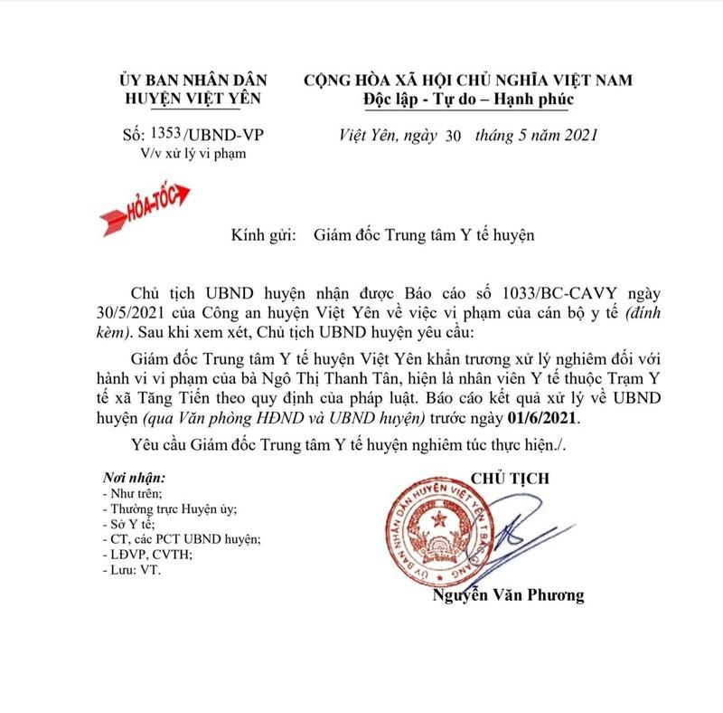 """Danh tinh nu y si o Bac Giang """"voi tien"""" nguoi nha benh nhan mac COVID-19"""