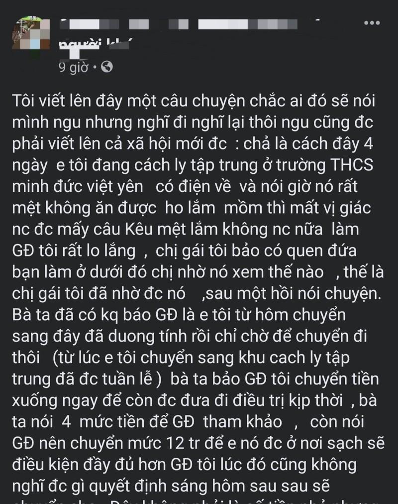 """Nu y si o Bac Giang bi to """"voi tien"""" nguoi nha benh nhan COVID-19?-Hinh-2"""