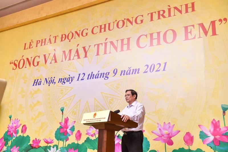 """Thu tuong phat dong chuong trinh """"Song va may tinh cho em"""""""