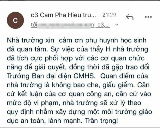 "Quang Ninh: Nghi thay giao truong Cam Pha ""ga tinh"" hoc sinh"