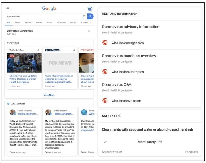 Google kich hoat tinh nang dac biet cho tim kiem ve virus corona