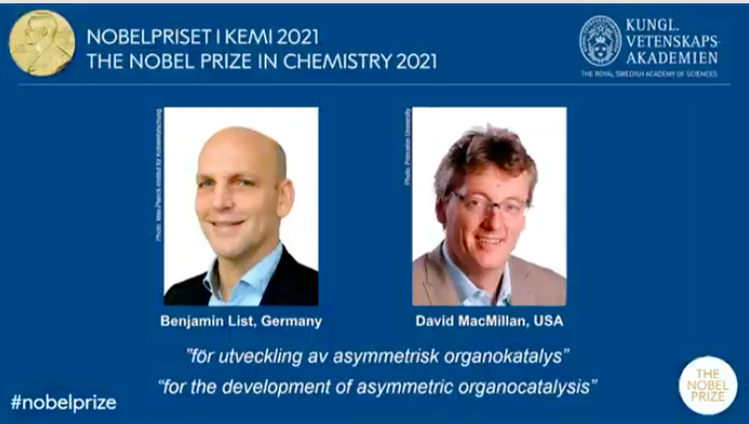 Giai Nobel Hoa hoc 2021 thuoc ve 2 nha khoa hoc My va Duc