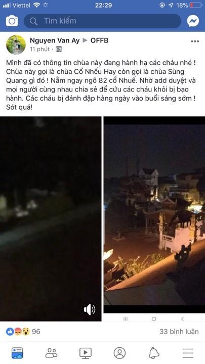 Cong an vao cuoc nghi van bao hanh tre em o chua Sung Quang