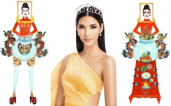 Trang phuc 'Ban tho' cua Hoang Thuy lot top binh chon tai Miss Universe