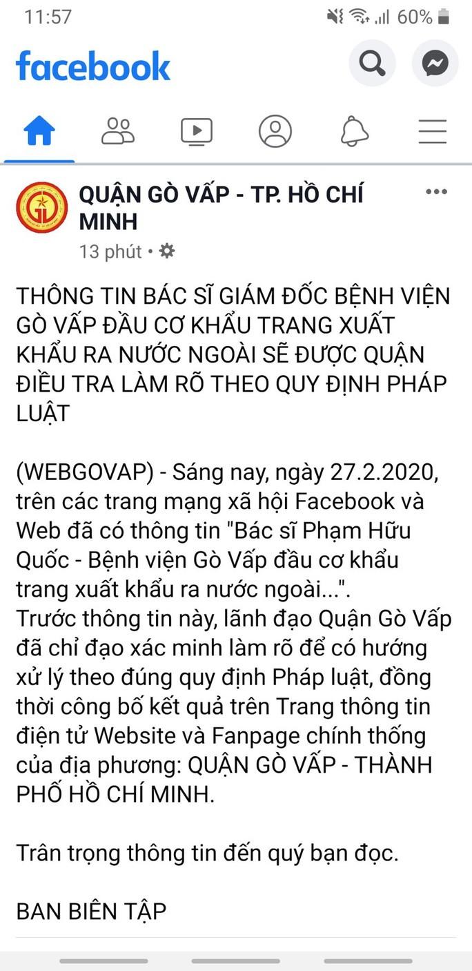 Xac minh thong tin giam doc Benh vien Go Vap bi to dau co khau trang-Hinh-2
