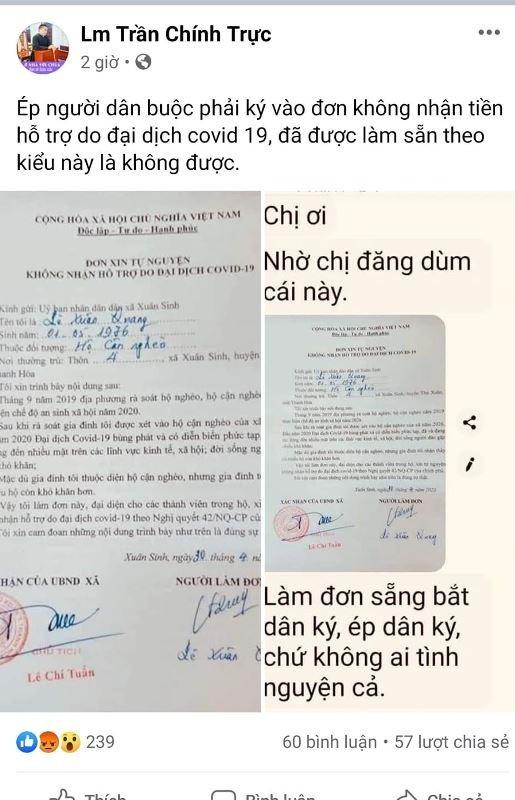 Su that nhung la don tu nguyen khong nhan tien ho tro COVID-19 Thanh Hoa