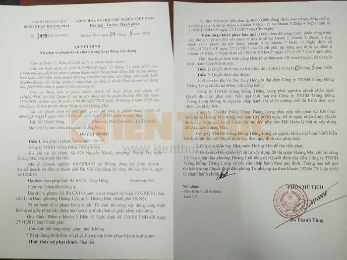 Trong Dong Palace Linh Dam Park vi pham TTXD: Vi sao gan 2 nam moi bi xu phat?