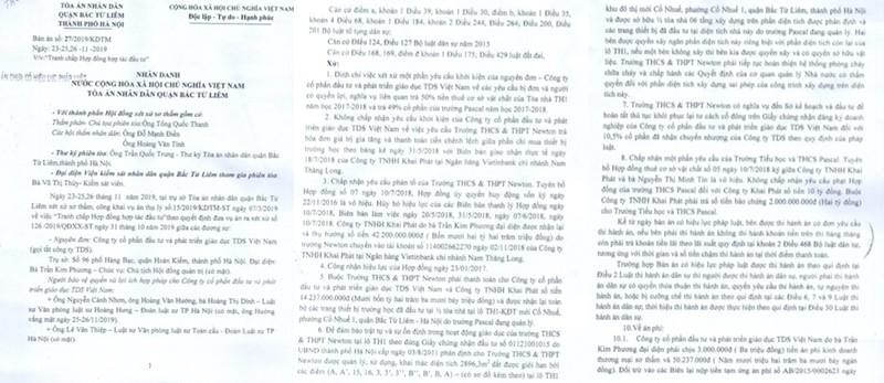 "Tranh chap Cty TDS-Truong Newton: Phien so tham va loat cau hoi ""mong"" lam ro o phuc tham?-Hinh-2"