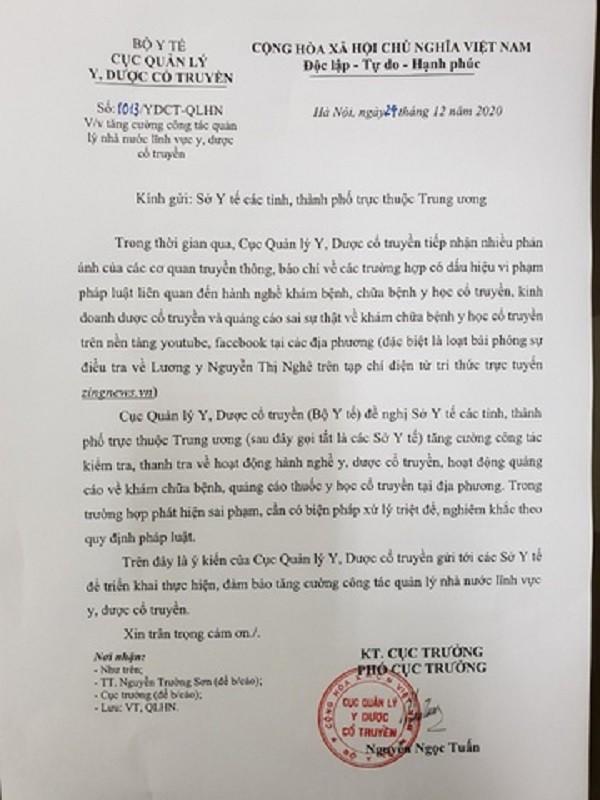 Bo Y te vao cuoc sau dieu tra ve luong y Nguyen Thi Nghe