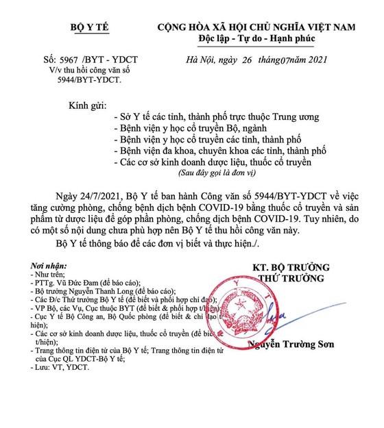Huy cong van 12 thuoc ho tro dieu tri COVID-19 lien quan gi Cty Nhat Nhat, Sao Thai Duong?
