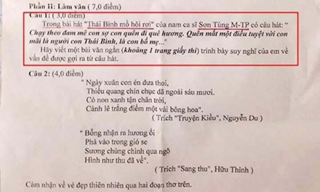 Ca si Son Tung lien tuc xuat hien trong de thi Van-Ly-Hoa-Hinh-2