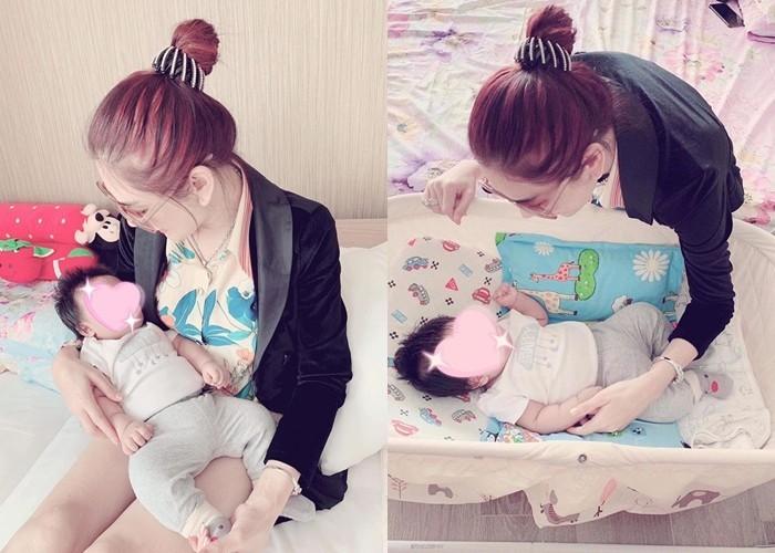 Lam Khanh Chi khoe anh con ra doi nho mang thai ho