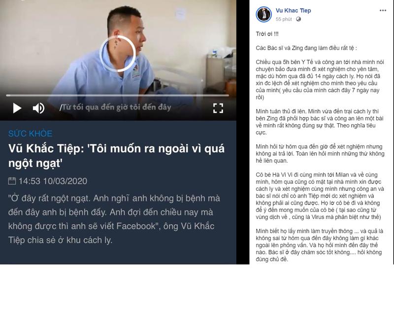 """Phan nan ve khu cach ly Covid-19, Vu Khac Tiep co xung dang bi """"nem da""""?"""