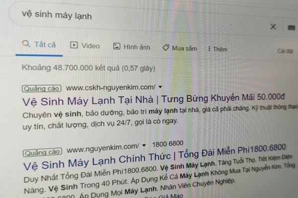 Nhieu web gia mao Nguyen Kim, Dien May Xanh de ve sinh may lanh