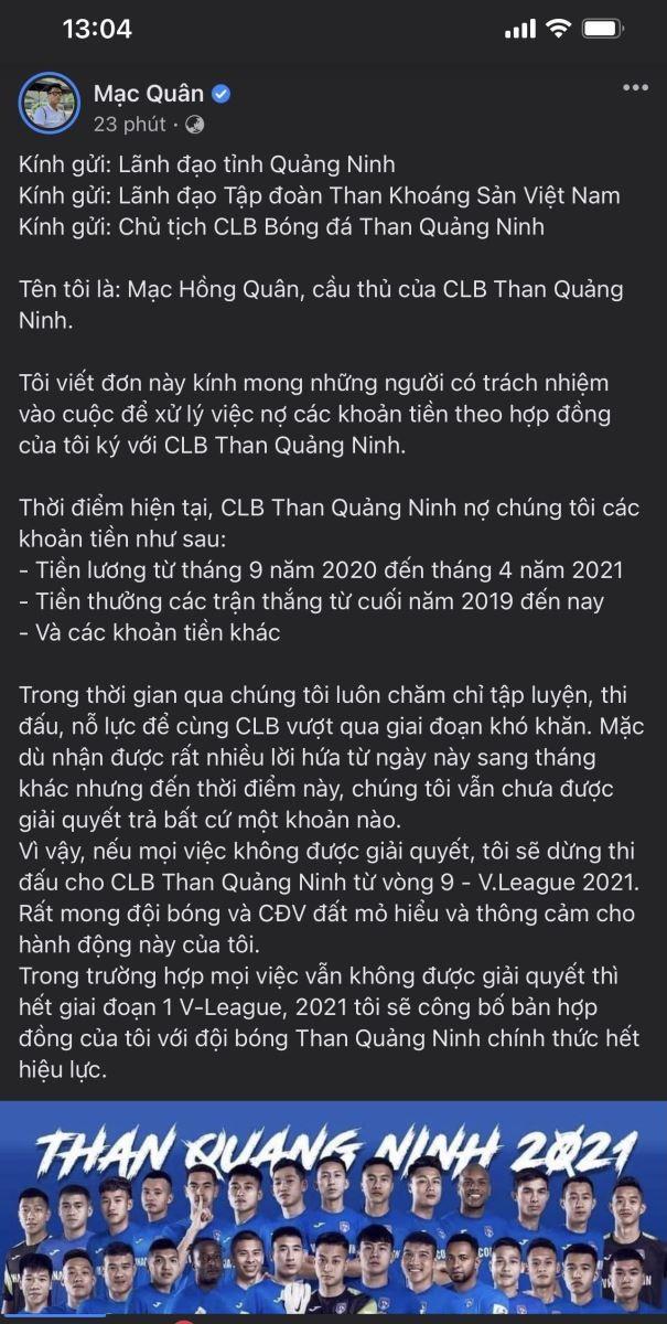 Cau thu Than Quang Ninh tuyen bo nghi choi tu vong 9 V-League