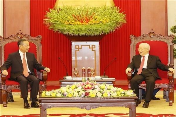 Tong Bi thu Nguyen Phu Trong tiep Uy vien Quoc vu, Bo truong Bo Ngoai giao Trung Quoc