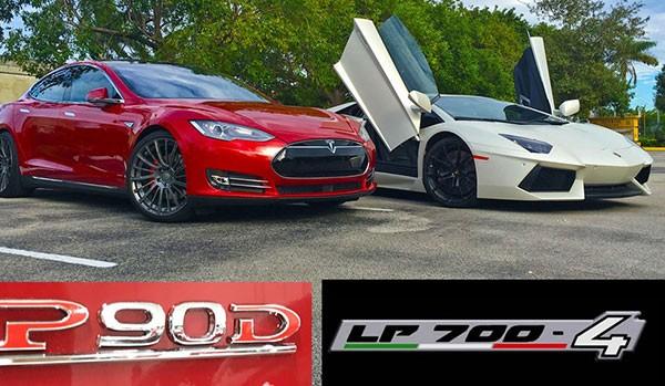 Xe dien Tesla Model S cho Lamborghini Huracan