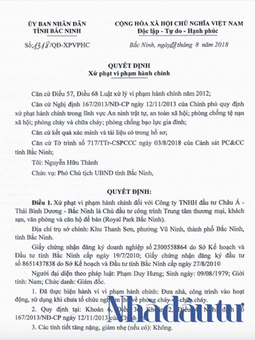 Chu dau tu Royal Park Bac Ninh vua bi phat 52,6 trieu tung vuong lum xum gi?-Hinh-2