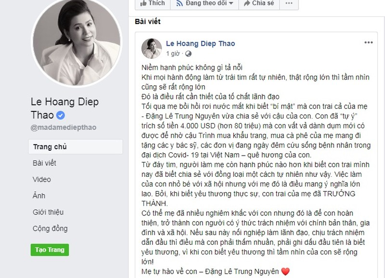 Con trai ba Le Hoang Diep Thao mua ca phe tang BS chong Covid-19