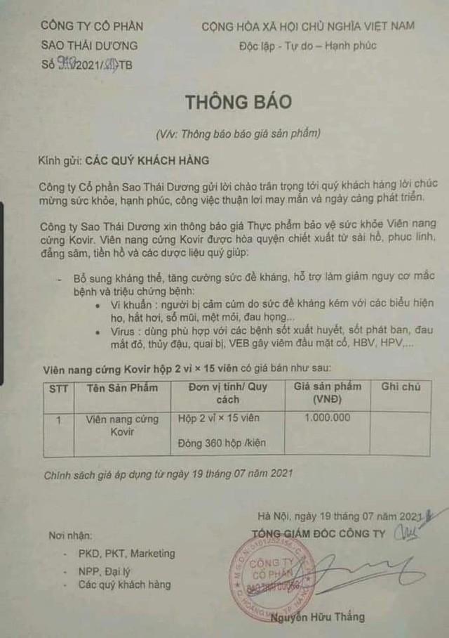 Vuong nghi van tang gia ban mua dich, Sao Thai Duong lam an sao?