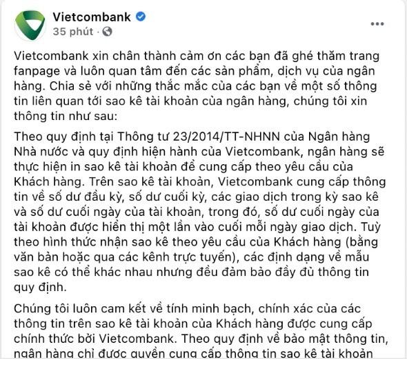 Vietcombank chinh thuc noi gi ve sao ke tai khoan cua Tran Thanh?