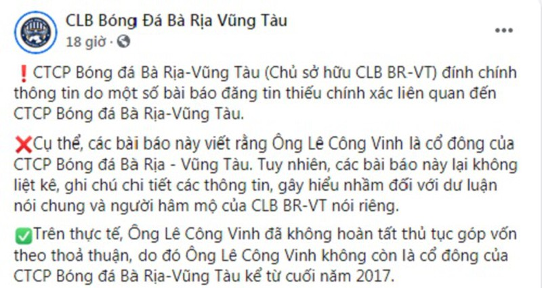 CLB Ba Ria - Vung Tau noi gi viec Cong Vinh la co dong gop von?