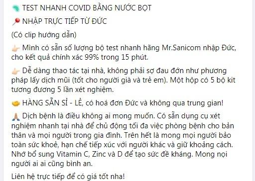 Kit test nhanh COVID-19 bang nuoc bot tran lan... coi chung