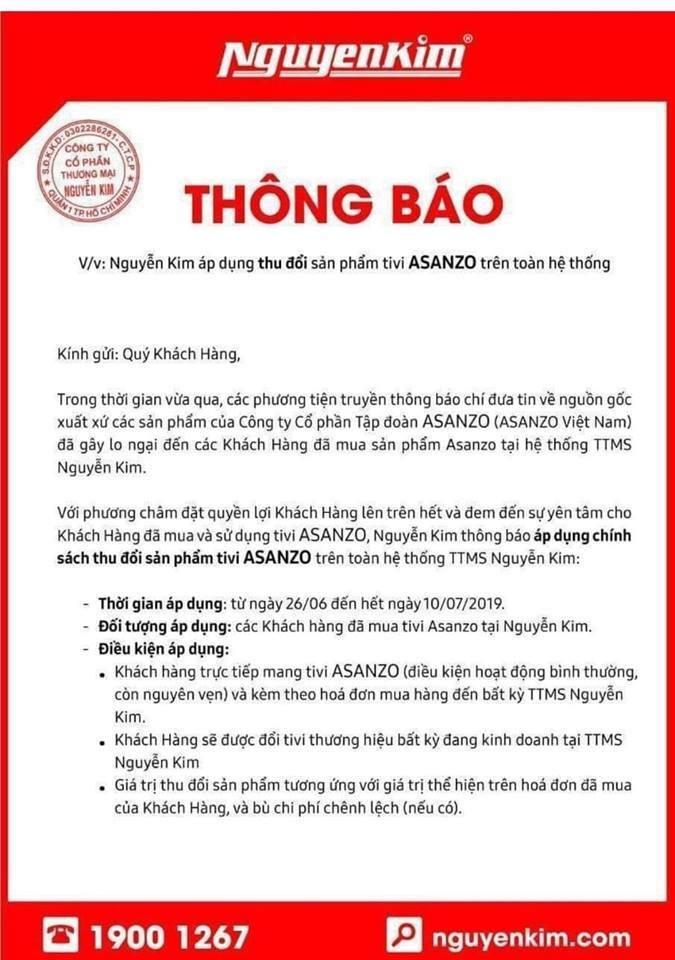 Vu hang Trung Quoc gan mac Viet: Nguyen Kim thu hoi, doi moi toan bo tivi hieu Asanzo cho khach hang