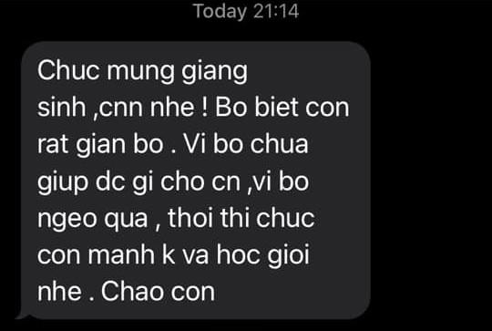 Dong tin nhan bo gui con dem Giang sinh khien co gai dau long