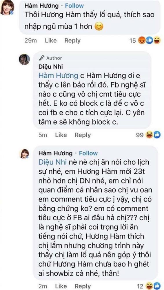 Dieu Nhi, Trang Tran tuyen bo truy vet thanh comment Ham Huong