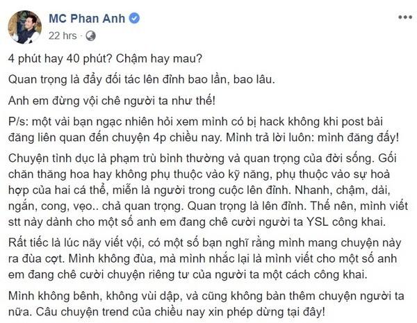 Dong trang thai bon cot cua MC Phan Anh ve vu viec hotgirl Ha thanh lo clip nong no ra lan song chi trich du doi-Hinh-2
