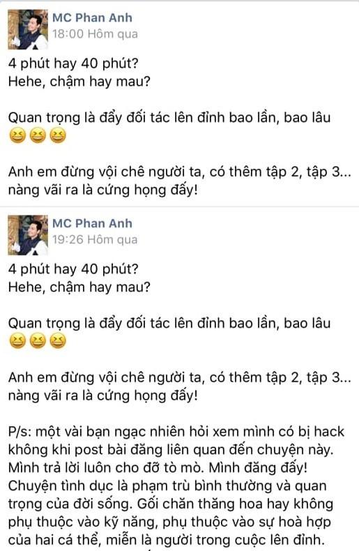 Dong trang thai bon cot cua MC Phan Anh ve vu viec hotgirl Ha thanh lo clip nong no ra lan song chi trich du doi
