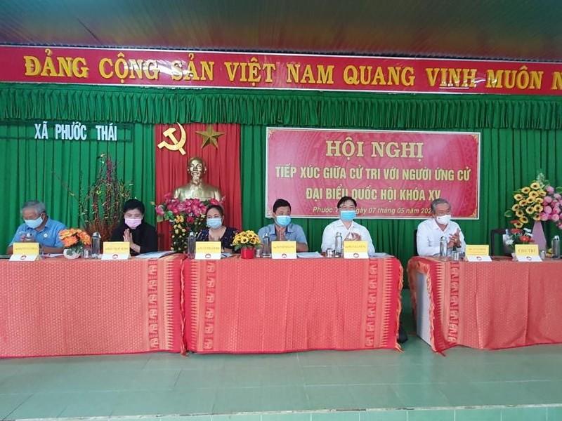 Chum anh Chu tich VUSTA Phan Xuan Dung va cac ung vien DBQH tiep xuc cu tri huyen Ninh Phuoc, Bac Ai-Hinh-2