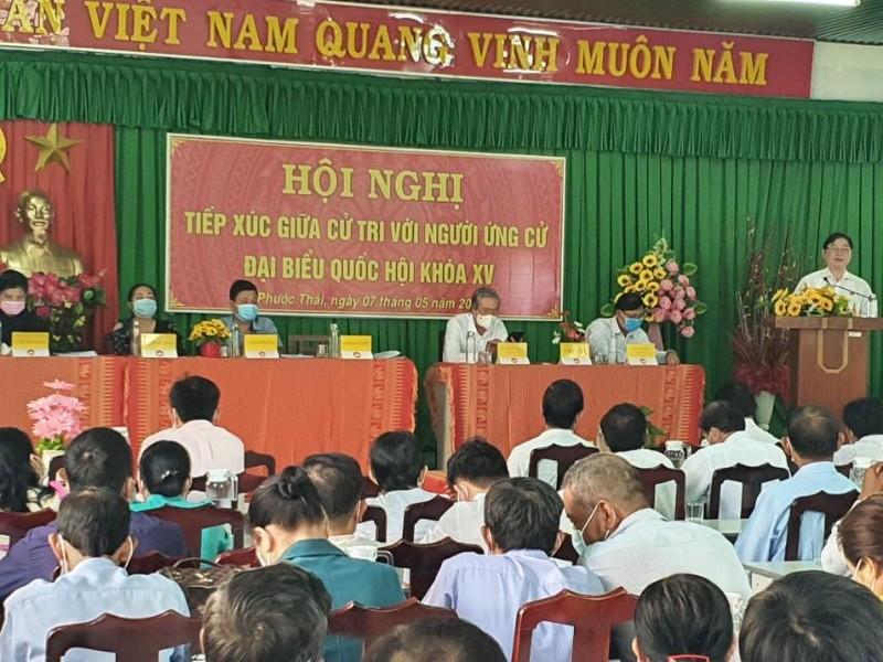 Chum anh Chu tich VUSTA Phan Xuan Dung va cac ung vien DBQH tiep xuc cu tri huyen Ninh Phuoc, Bac Ai-Hinh-3
