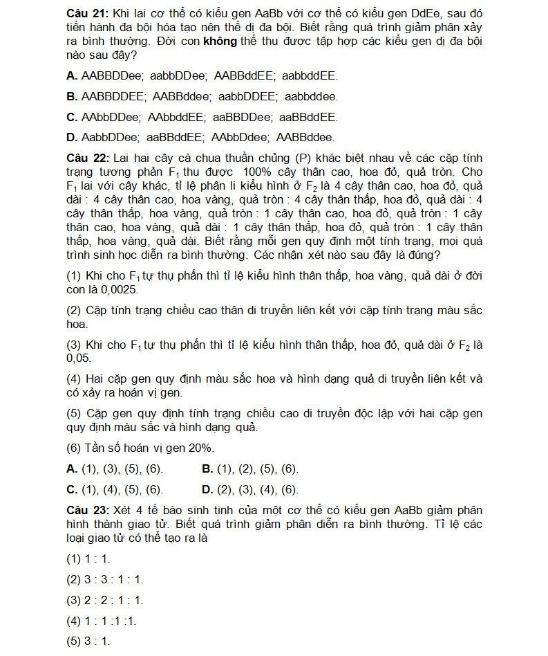 De thi thu THPT quoc gia mon Sinh chuyen DH Vinh lan 3-Hinh-5