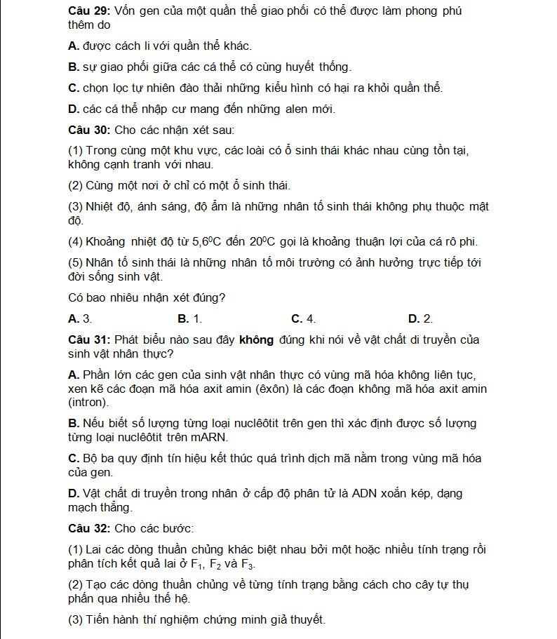 De thi thu THPT quoc gia mon Sinh chuyen DH Vinh lan 3-Hinh-7