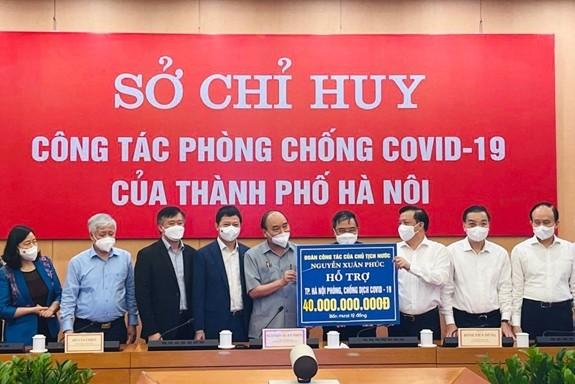 Techcombank trao tang 15 ty ho tro thu do Ha Noi chong dich