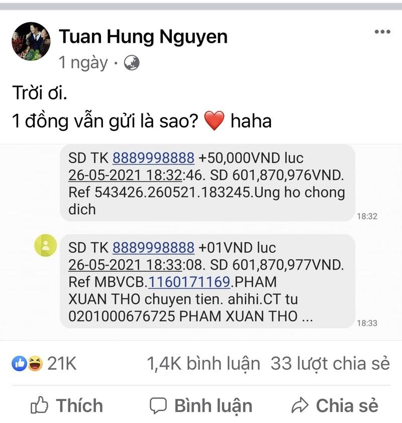 """Ca si Tuan Hung """"bat ngua"""" voi fan ung ho 1 dong chong dich"""