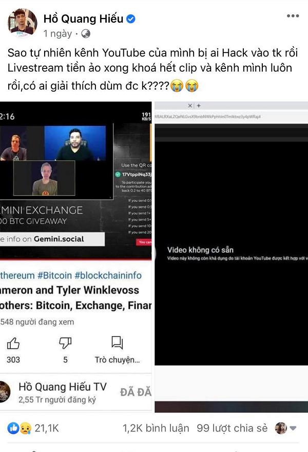 Ly Hai, Ho Quang Hieu bi hack kenh YouTube de quang cao bitcoin