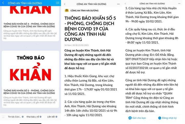 Cong an Hai Duong ra thong bao truy vet khan ve o dich o Kim Thanh