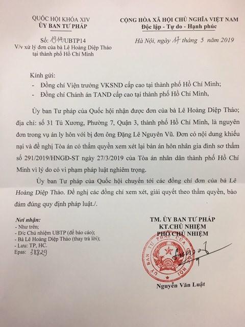 Ly do ba Le Hoang Diep Thao de nghi xem lai ban an ly hon