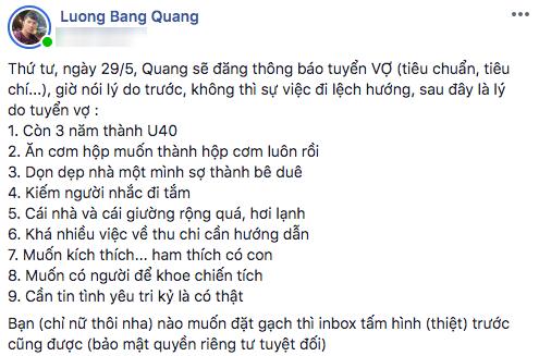 Doc than chua duoc 1 thang, Luong Bang Quang dang dan tuyen vo