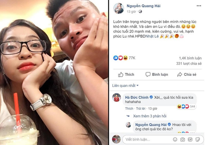 Quang Hai gui loi chuc ngot ngao nhan sinh nhat 20 tuoi cua ban gai