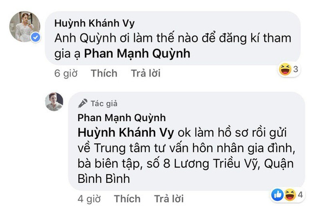Ban gai Phan Manh Quynh muon tham gia Nguoi ay la ai