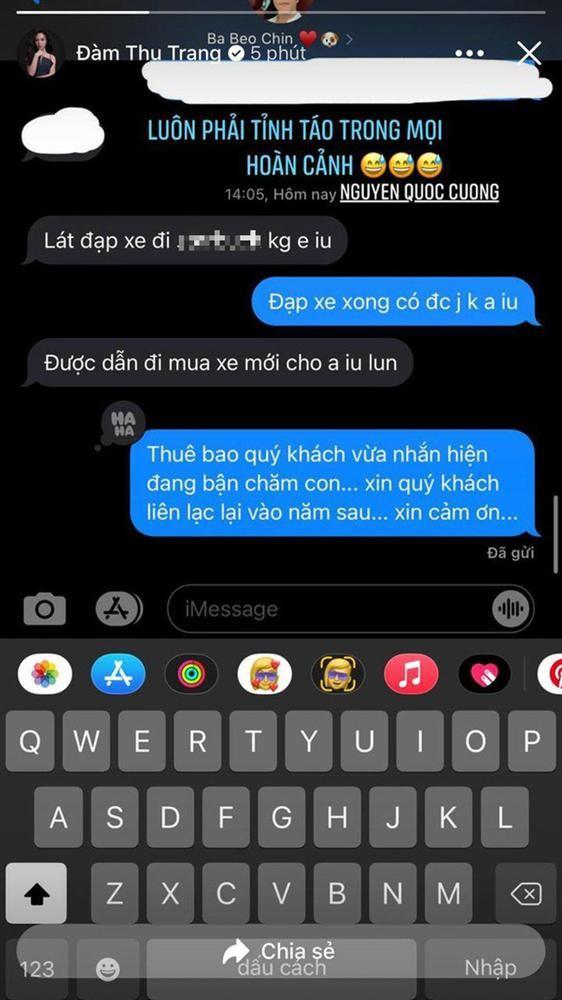 Dam Thu Trang khoe tin nhan voi Cuong Do La